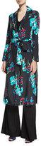 Diane von Furstenberg Collared Floral-Printed Silk Coat