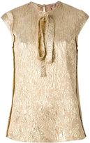No.21 tied neck metallic blouse - women - Silk/Polyester - 42