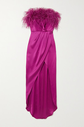 RALPH & RUSSO Strapless Feather-trimmed Silk-satin Gown - Pink
