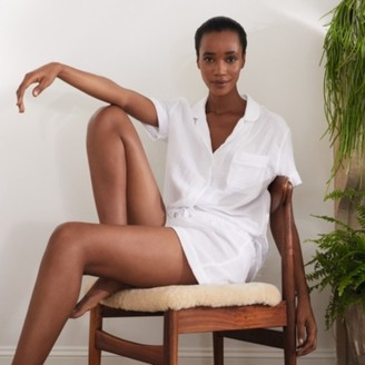 The White Company Double-Cotton Short Pyjama Set, White, Extra Small
