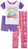 Shopkins 3-Pc. Cotton Pajama Set, Little Girls (2-6X) & Big Girls (7-16)