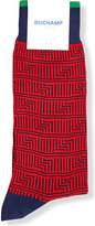 Duchamp Mens Red Striped Flamboyant Aztec Dash Cotton-Blend Socks