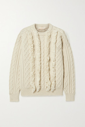 Tory Burch Fringed Cable-knit Wool Sweater - Ivory