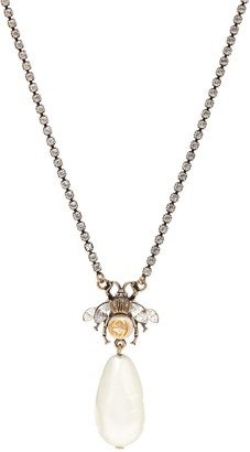 Gucci Bee faux pearl and crystal-embellished necklace