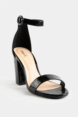 Qupid Crocodile Ankle Strap Heel Sandal - Black