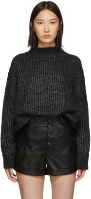 Saint Laurent Black Oversized Crewneck Sweater Dress