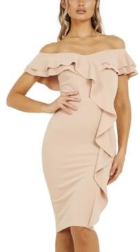 Quiz Off-The-Shoulder Ruffled Dress