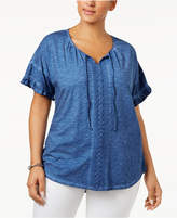 Style and Co Plus Size Cotton Crochet-Trim Peasant Top, Created for Macy's