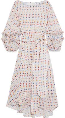 Sachin + Babi Emma Asymmetric Belted Polka-dot Metallic Chiffon Dress