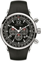 Nautica Men's Stainless Steel Black Strap Chronograph Watch