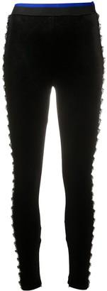 Koché Rhinestone-Embellished Velvet Leggings