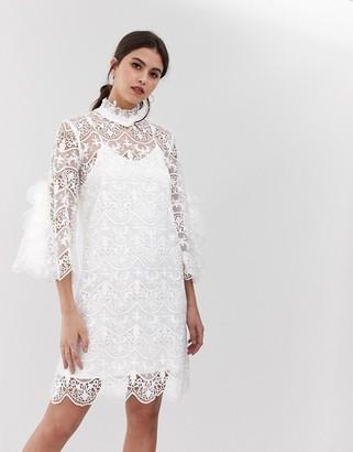Y.A.S Bridal high neck lace dress-White