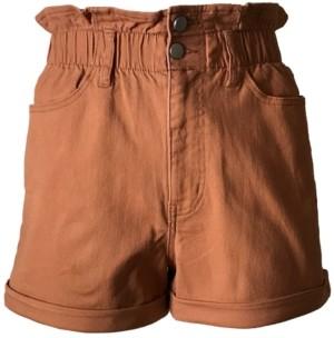 Tinseltown Juniors' Cuffed Paperbag-Waist Shorts