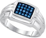 Diamond & CO Sterling Silver Mens Round Blue Colored Diamond Band Wedding Anniversary Ring 1/4 Cttw