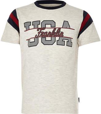 River Island Boys Franklin and Marshall marl 'USA' T-shirt
