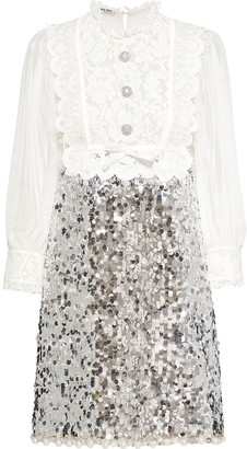 Miu Miu Sequin Panel Mini Dress