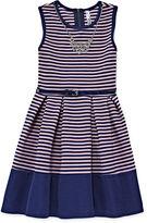 Knitworks Knit Works Sleeveless Stripe Belted Skater Dress - Girls 7-16