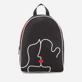 Lulu Guinness Women's Kissing Lips Backpack - Black/Chalk