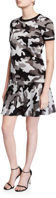 MICHAEL Michael Kors Grandcamo Crewneck Short-Sleeve A-Line Dress