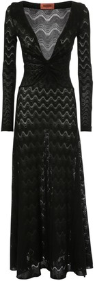 Missoni Knit Intarsia Wool Blend Midi Knot Dress
