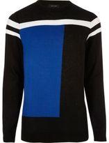 River Island MensBright blue block slim fit jumper