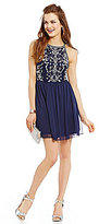I.N. San Francisco Chiffon Jewel Bust A-line Dress