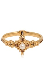 Alexander McQueen Pearl & Swarovski Cross Bracelet