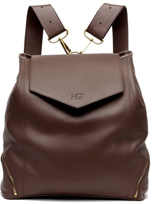 Holly & Tanager The Professional Leather Backpack Purse In Chocolate