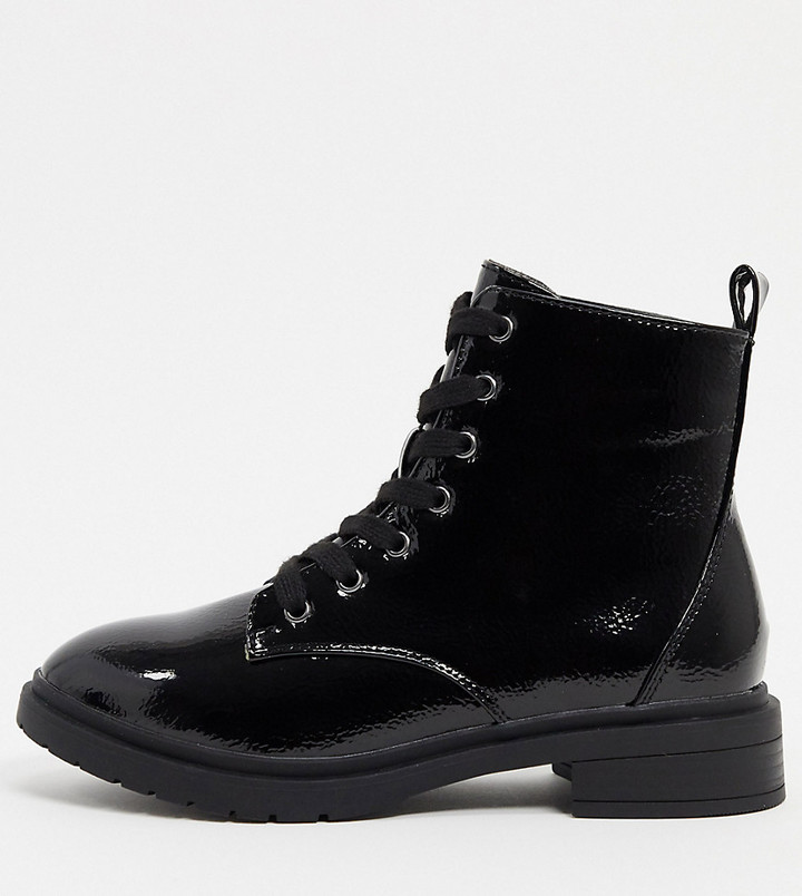 New Look wide fit patent boots in black