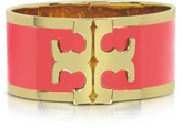 Tory Burch Tory Gold Brass and Red Volcano Enamel Raised Logo Wide Cuff Bracelet