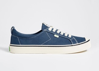 Cariuma OCA Low Stripe Shadow Blue Canvas Contrast Thread Sneaker Men