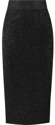 Cushnie et Ochs Metallic Stretch-Knit Midi Skirt