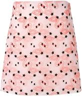 Giamba flamingo embroidery mini skirt - women - Cotton/Polyester - 42
