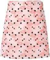 Giamba flamingo embroidery mini skirt - women - Cotton/Polyester - 44