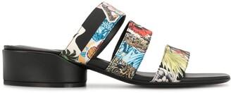 Salvatore Ferragamo Floral-Print Sandals