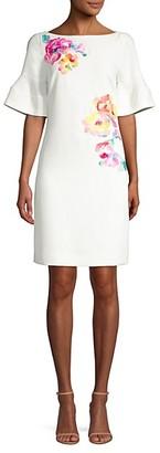 Trina Turk Soujourn Classic Crepe Embroidered Dress