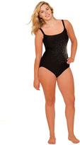 Delta Burke WOMENS Plus-Size Black Sparkle One-Piece Swimsuit