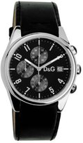 Dolce & Gabbana 3719770097 Gents Watch Quartz Analogue Chronograph Black Leather Strap