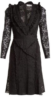 Altuzarra Ourika Valencienne Lace Ruffle Trimmed Dress - Womens - Black