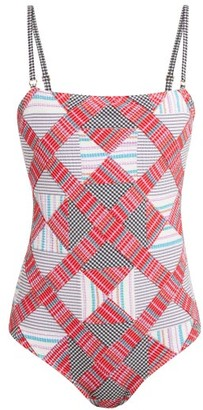 Belize - Luca Square-neck Checked-seersucker Swimsuit - Red Multi