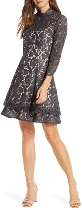 Eliza J Long Sleeve Lace Fit & Flare Dress