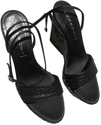 Casadei Black Glitter Sandals