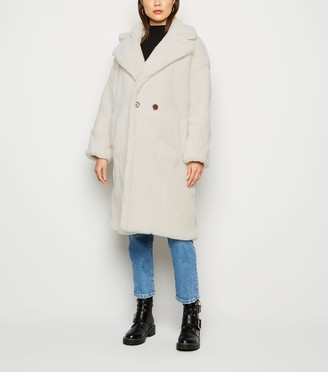 New Look Blue Vanilla Oversized Teddy Coat