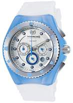 Technomarine Tm-115240 Women's Cruise Chrono White Silicone Silver-Tone Dial Blue Accents Watch