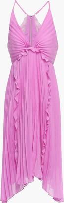 Halston Asymmetric Ruffle-trimmed Plisse-voile Dress