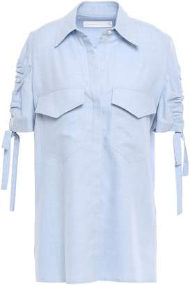 Victoria Victoria Beckham Victoria, Victoria Beckham Cutout Gathered Cotton And Wool-blend Flannel Shirt
