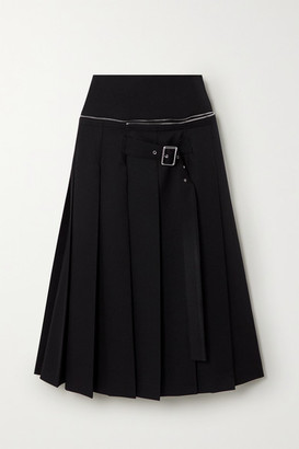 we11done Zip-detailed Buckled Pleated Crepe Midi Skirt