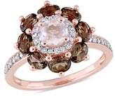 Laura Ashley Smokey Quartz, Rose Quartz And Diamond Accent Ring.