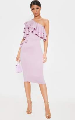 PrettyLittleThing Dusty Lilac One Shoulder Ruffle Detail Scuba Midi Dress