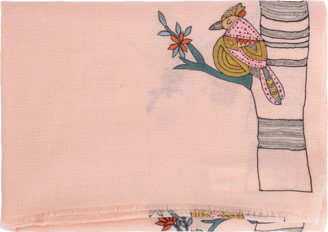 Janavi India Embroidered Bird Scarf